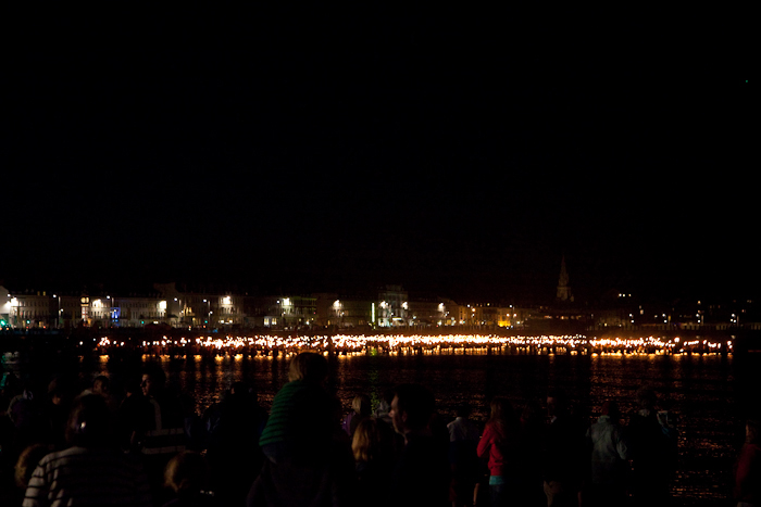 2012 torches into the sea for Weymouth Battle of the Winds Olympic celebrations